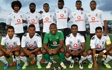 Fiji line-up before taking on the Wellington Phoenix.