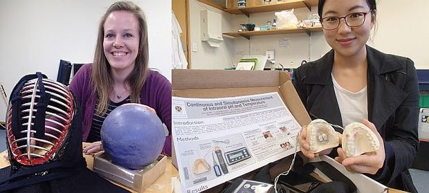 PhD student Lisa Falland (left) is developing a skin-skull-brain model to investigate impacts and concussive brain injury. The helmet is Kendo martial art's protective gear. Fellow PhD student Joanne Choi is investigating dental erosion caused by acid in the mouth.