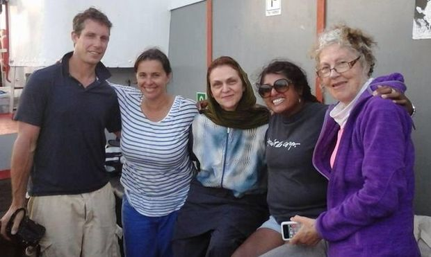 Ruwani Perera and Jacob Bryant with other international participants aboard Freedom Flotilla ship 'Marianne'.