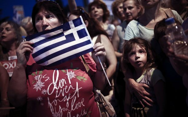 Protesters in Athens on 29 June after creditors at the weekend refused to extend the country's bailout.