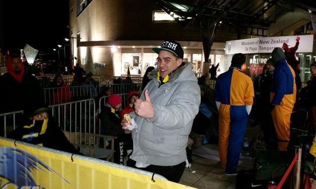 Hurricanes fan Whare Moke was first in line to grab a ticket to the final.