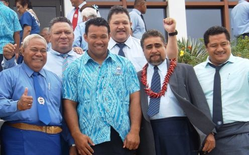 Manu Samoa captain Ofisa Treviranus with several local parliamentarians at the squad naming for the All Blacks test.