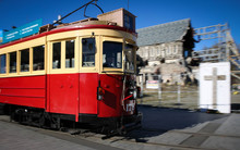 Christchurch tram and cathedral.