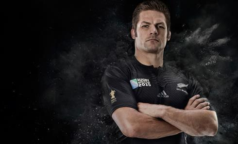 All Blacks captain Richie McCaw in the new Rugby World Cup jersey.