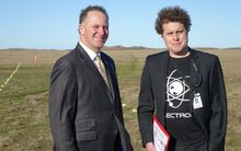 John Key and Rocket Lab chief executive, Peter Beck, at the proposed site for new launch pad.