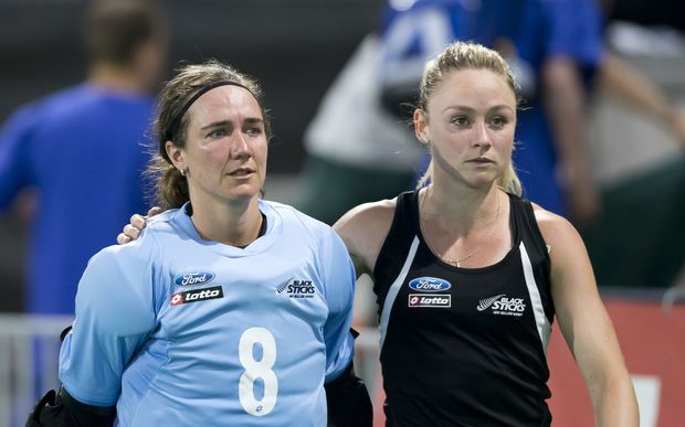 Black Sticks players Sally Rutherford and Anita Punt.