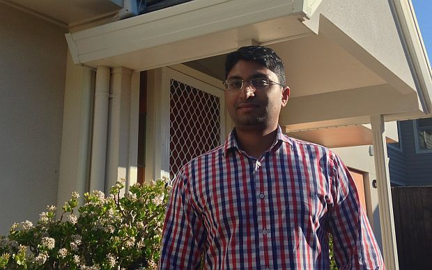 Economist, Shamubeel Eaqub, outside his rented home in Auckland.