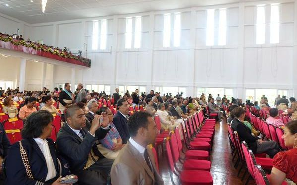 Guests arrive at the Free Wesleyan Church in Nuku'alofa for the coronation of King Tupou VI