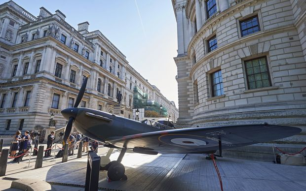 A Spitfire Mk.1A outside the Churchill War Rooms in London before its auction.
