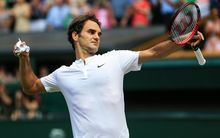 Roger Federer celebrates his 2nd round victory, Wimbledon, 2015.