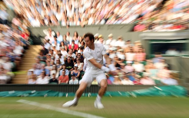 Andy Murray in action during his third round victory, Wimbledon, 2015.