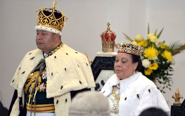 Newly crowned King Tupou VI (left) and Queen Nanasipau'u (right) stand before the delegation at the Centenary Church in Nuku'alofa.