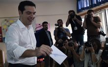 Greek Prime Minister Alexis Tsipras votes in the referendum.