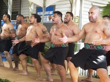 PIPA students from NZ performing the haka at the exhibition in Apia