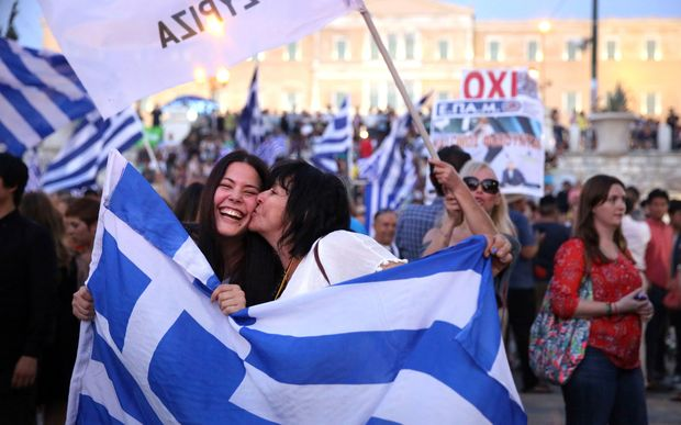 Euphoria among the 'no' vote camp:  Syntagma Square, Athens.