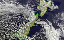 Satellite image shows the cold front moving across New Zealand.