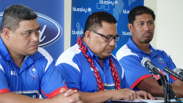 Manu Samoa coach Stephen Betham, left, manager Sami Leota, centre, and co-coach Alama Ieremia at the team announcement in Apia today.