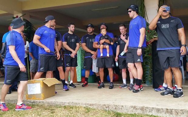 The All Blacks visit Marist Brothers' Primary School.