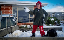 Nine-year-old Lachlan Dixon takes advantage of the fresh dumping of snow in Southland.