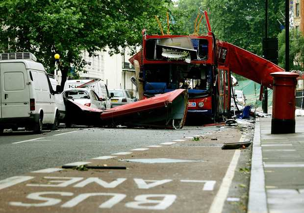 A view of the Number 30 double-decker bus is seen in Tavistock Square in central London on 8 July 2005.