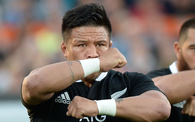 The All Blacks' hooker Keven Mealamu performs the Haka.