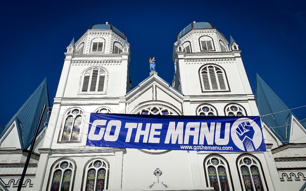 Apia's catholic cathedral gets into the spirit of the game.