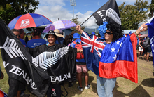 Fans arrive early for the All Blacks v Manu Samoa rugby union test match at Apia Park.