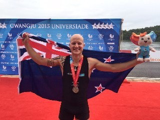 Rower Toby Cunliffe-Steel celebrates winning a silver medal at the World University Games in South Korea.