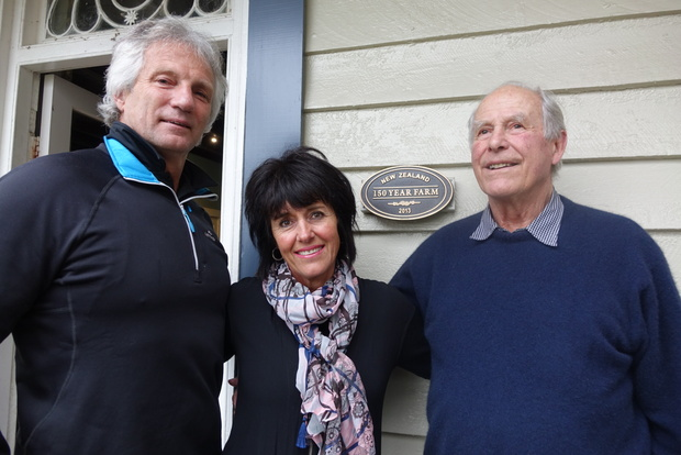 Jeremy Cooper (left), Nikki Cooper and Richard Raine are striving to keep Nelson's Oaklands farm in the family.