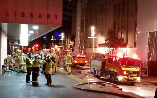 Large fire crew battling fire at historic St James theatre in Auckland last night