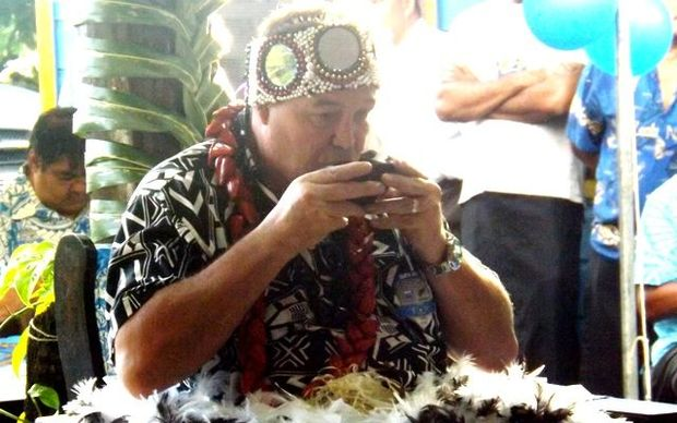 All Blacks rugby coach Steve Hansen at a ceremony to make him a Samoan chief