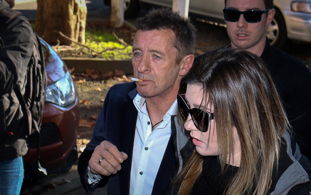 Phil Rudd arriving at the Tauranga District Court this morning 9/7/15