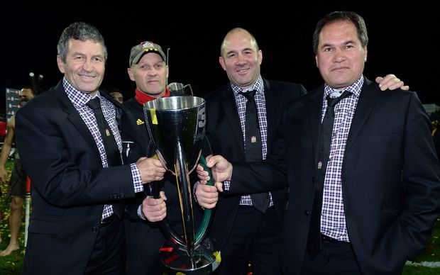 (L to R) Chiefs coaches Wayne Smith, Andrew Strawbridge, Tom Coventry and Dave Rennie