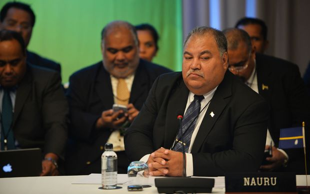 Nauru's President Baron Waqa at the Pacific Islands Forum foreign ministers meeting in Sydney.