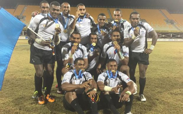 Fiji mens 7s team at the Pacific Games in PNG.