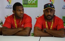 PNG captain Israel Eliab and coach Michael Marum