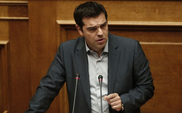 Greece's Prime Minister Alexis Tsipras delivers a speech during a parliament meeting in Athens.