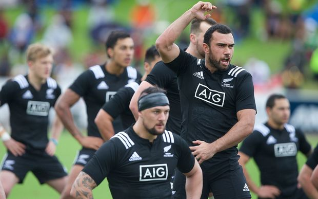 Maori All Blacks captain Charlie Ngatai leads the haka against Fiji, 2015.