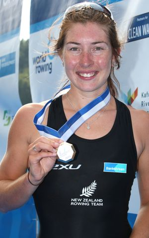 Lightweight single sculler Zoe McBride with the silver medal she has won in Lucerne.