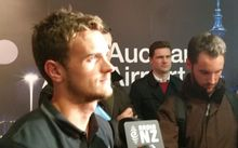 Deklan Wynne speaking to media at Auckland Airport.