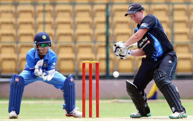 White Fern Rachel Priest on her way to hitting world's second fastest 50 against India