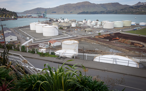 The tank farm at the port of Lyttelton.