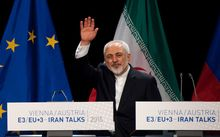 Iranian Foreign Minister Mohammad Javad Zarif at the end of Iran nuclear talks in Vienna.