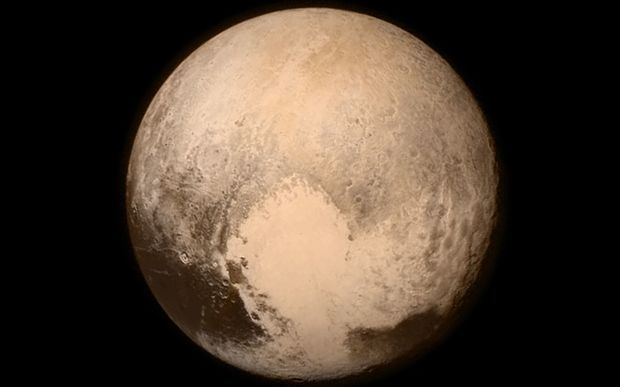 The last image of Pluto sent back by New Horizons before its closest approach to Pluto.