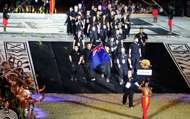 New Zealand athletes at the Pacific Games opening ceremony in Papua New Guinea.