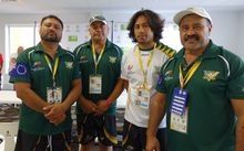 President of Cook Islands Rugby League Charles Carlson (far right).
