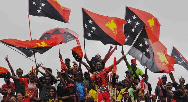 Papua New Guinea supporters at the Pacific Games