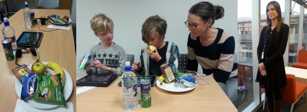 A photo from left to right of the food placed in front of children, Johan, Thurston and Ineka Vogels, and Sam Marsh