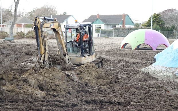 Heavy machinery is being used to clear silt from the Kowhai Park playground and miniature railway.