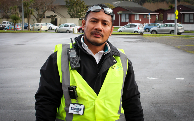 A Hutt City Council parking officer wears one of the on-body video cameras.